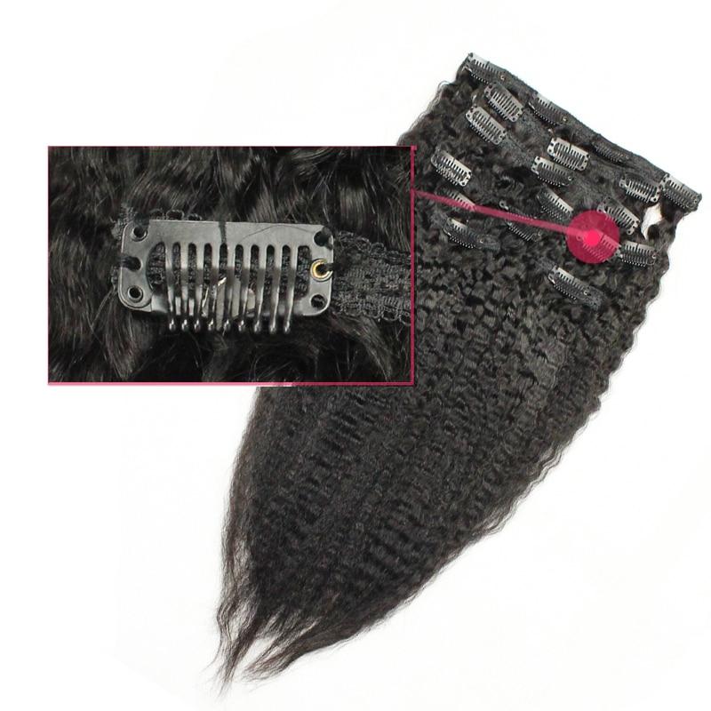 Kinky Straight Clip Dalam Sambungan Rambut Manusia 7 Keping / - Rambut manusia (untuk hitam) - Foto 3