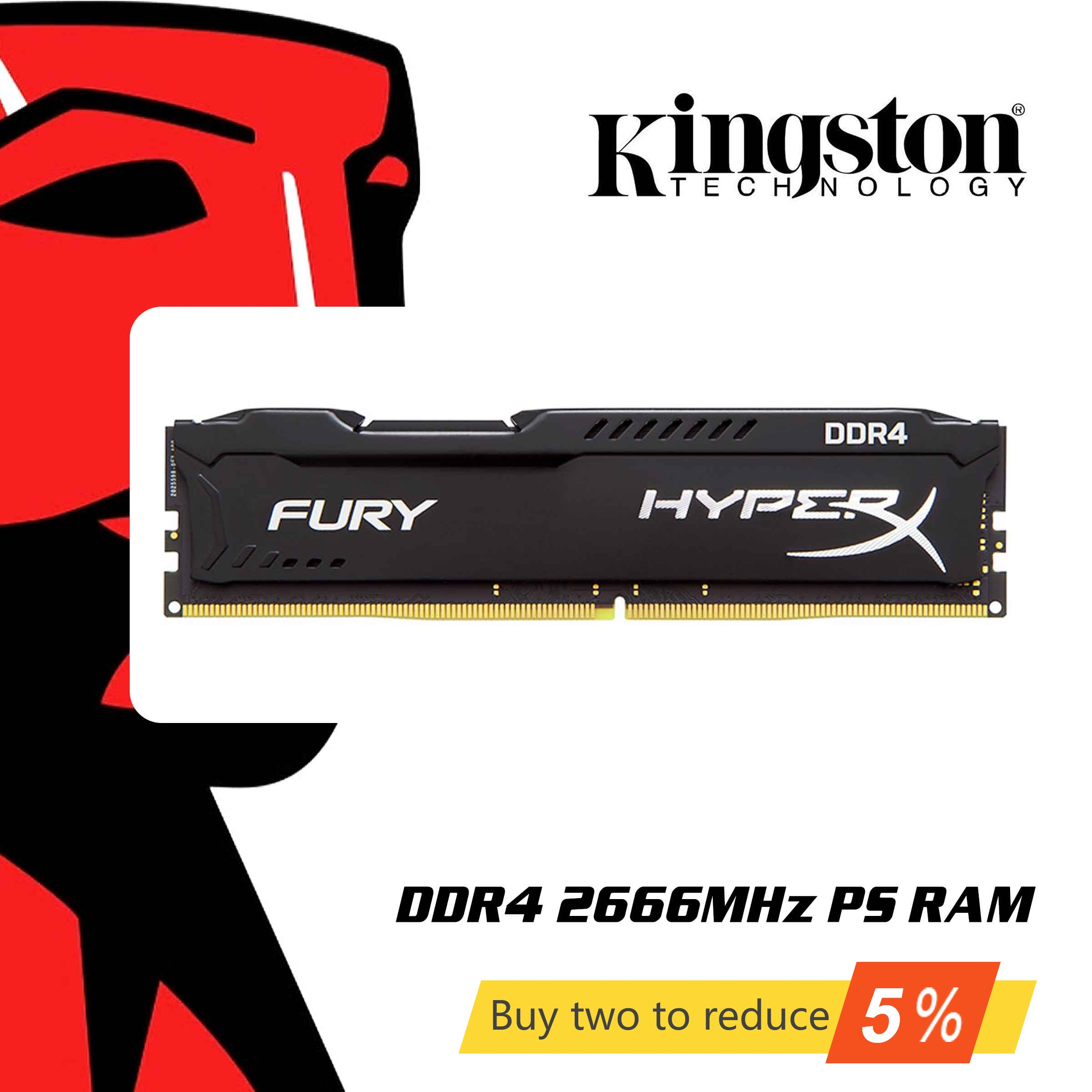 Original Kingston HyperX FURY 4GB 8GB <font><b>16GB</b></font> Desktop Game <font><b>RAM</b></font> Memory <font><b>DDR4</b></font> 2666MHz CL16 DIMM 288-pin Internal Memoria For Gaming image