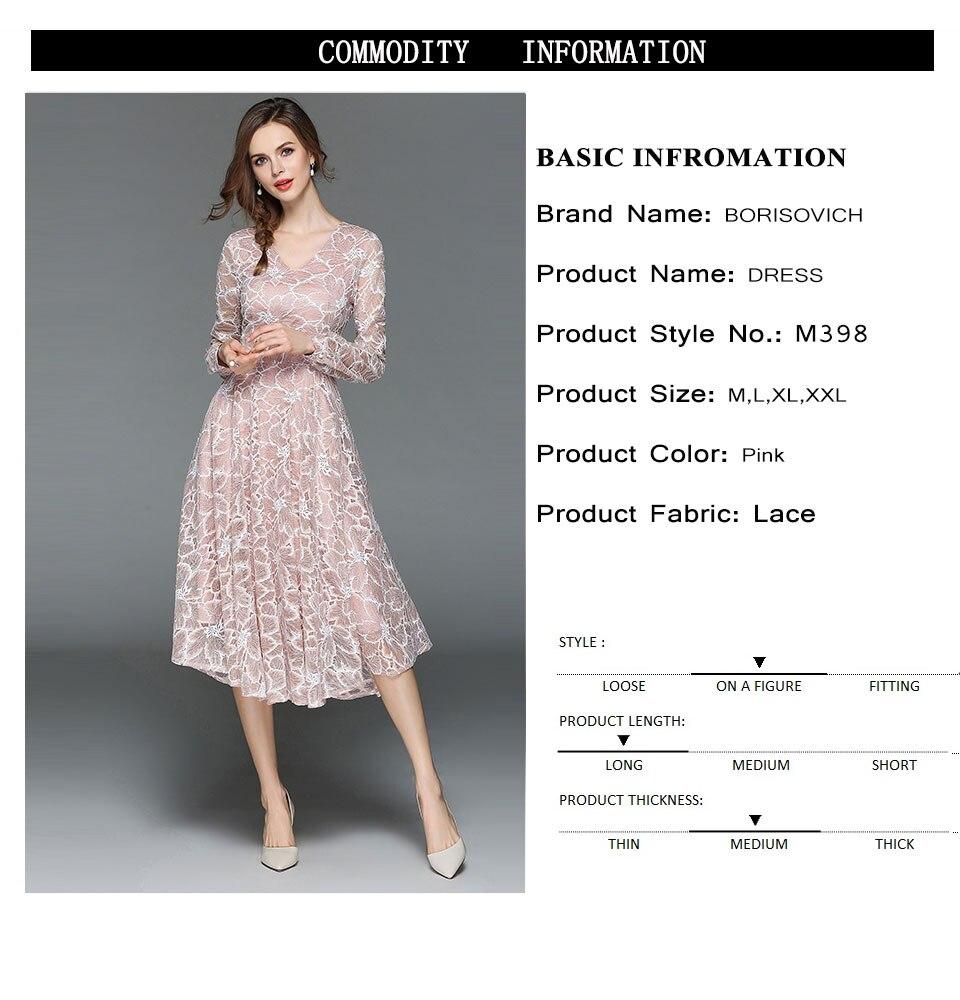 Borisovich Women Casual Lace Dress New 18 Autumn Fashion Long Sleeve V-neck Elegant Slim A-line Women's Party Dresses M398 1