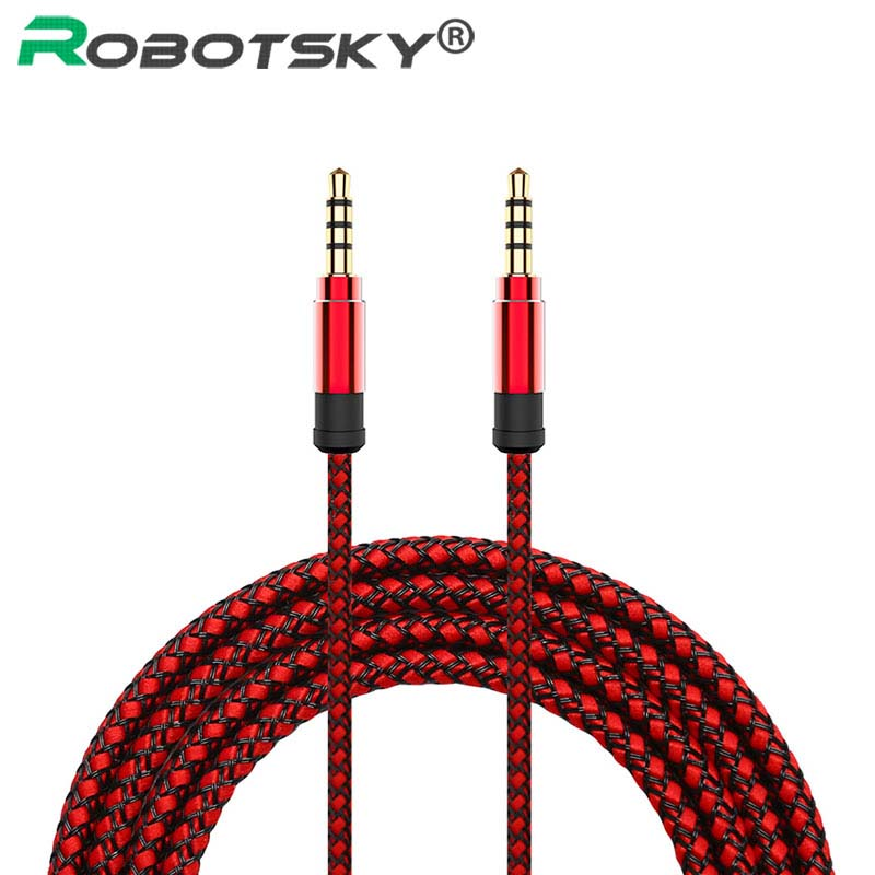 Robotsky 1.5M Jack 3.5mm Audio Cable Nylon Braid 3.5mm Car AUX Cable Headphone Extension Code For Phone MP3 Car Headset Speaker