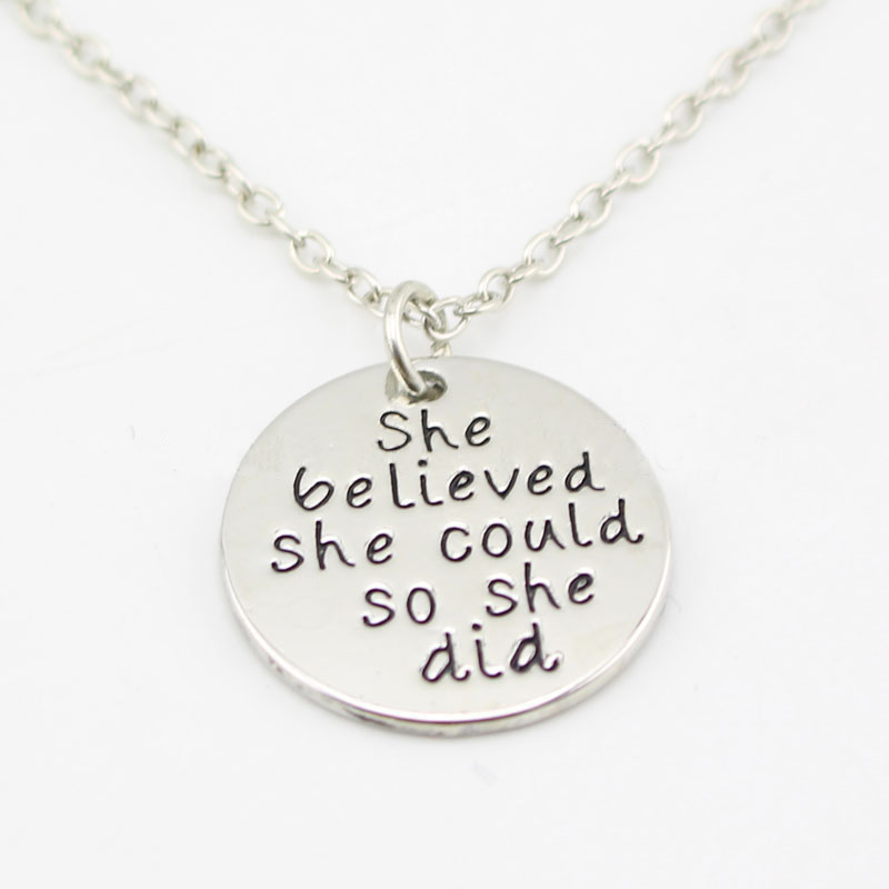 Personalized she believed she could so she did Necklace New Arrival Long Necklaces for Men and Women YP2549