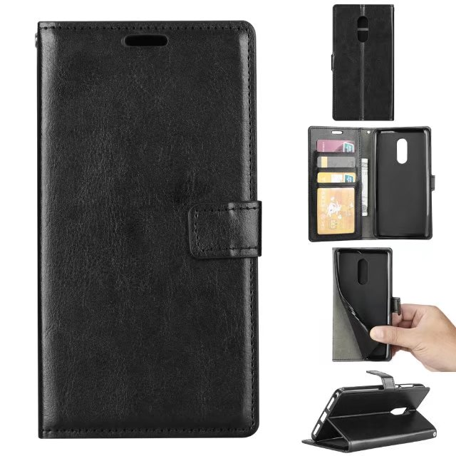 10pcslot free shipping Crazy Horse Wallet Leather stand Case for Xiaomi Redmi NOTE 4 Photo Frame Card Slots