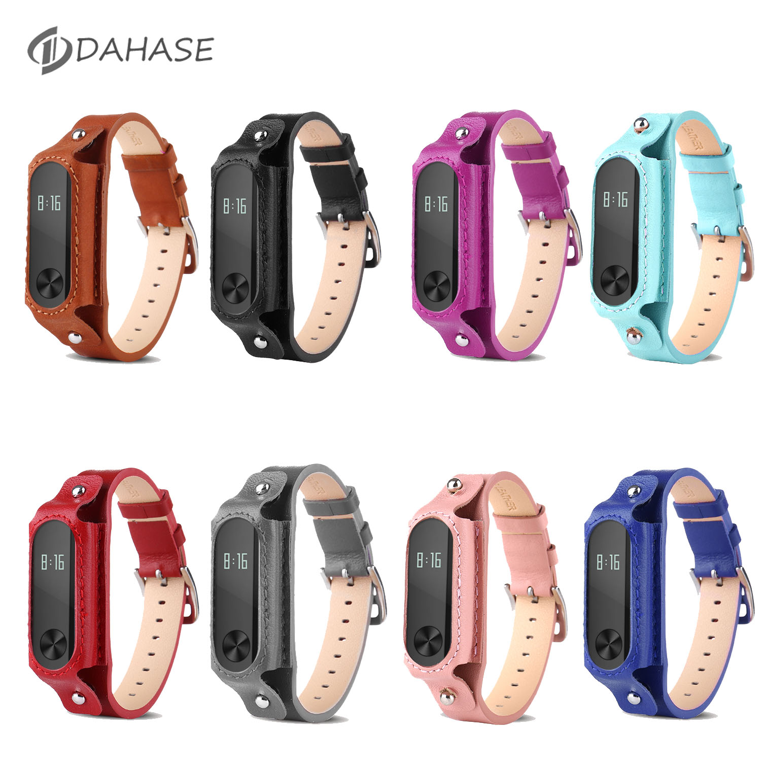 DAHASE 8 Colors Mi Band 2nd Bracelet Genuine Leather Strap Band For Xiaomi Mi Band 2 Miband 2 WristBand Replacement Strap new fashion original silicon wrist strap wristband bracelet replacement for xiaomi mi band 2 dignity 8 9
