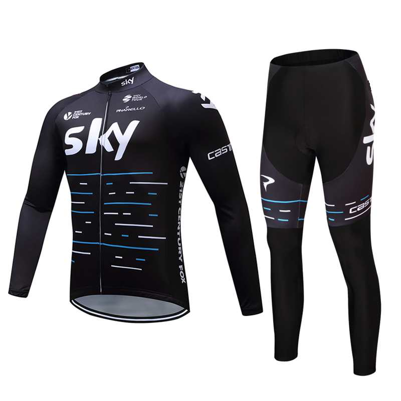 ФОТО 2017 sky autumn Cycling jersey bike pants set MTB long sleeve bicycling wear team pro bike maillot Culotte suit
