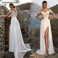 SIJANE Vestidos de Noiva специально Vestido longo branco простой элегантный развертки поезд Винтаж вечерние праздничное платье 0779