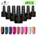 Saviland 6pcs10ml Soak Off  Color UV Gel Polish Gel Varnish Semi Permanent Shining Colorful Gel Curing UV/LED Lamp