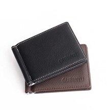 2017 hot fashion Mini Men Genuine Leather Money clips Pocket with zipper clamp Slim Credit Card Bag Holder coin Multi-card bit