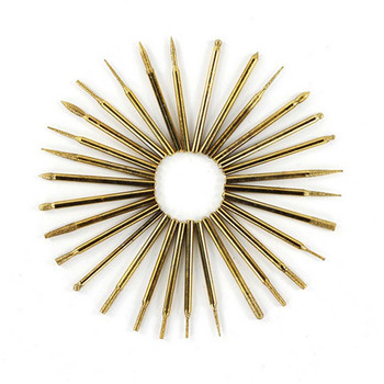 цена на 30pcs Diamond Grinding Head Shank Drill Bit Set Burr Drill Grinder Bits Dremel Rotary Tools Woodworking