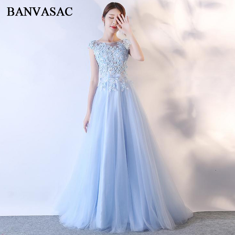 BANVASAC 2018 Crystal Flowers O Neck A Line Lace Appliques Long   Evening     Dresses   Party Bow Sash Open Back Prom Gowns