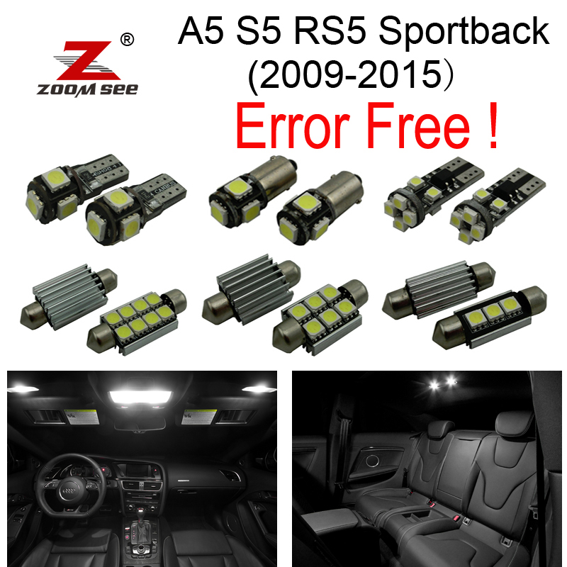 24pcs error free LED lamp License plate bulb + interior map lights full kit for Audi A5 S5 RS5 sportback (2009-2015) cawanerl car canbus led package kit 2835 smd white interior dome map cargo license plate light for audi tt tts 8j 2007 2012