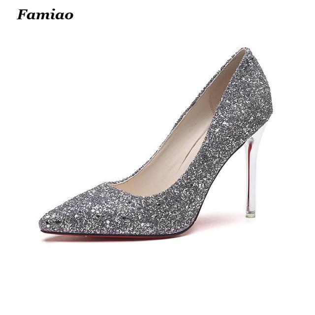 Sexy Bling Bling mujeres Bombas Glitter 10 CM Tacones Altos Zapatos de Boda de Señora chispas Bomba Gradual Brillo del partido de tarde Zapatos