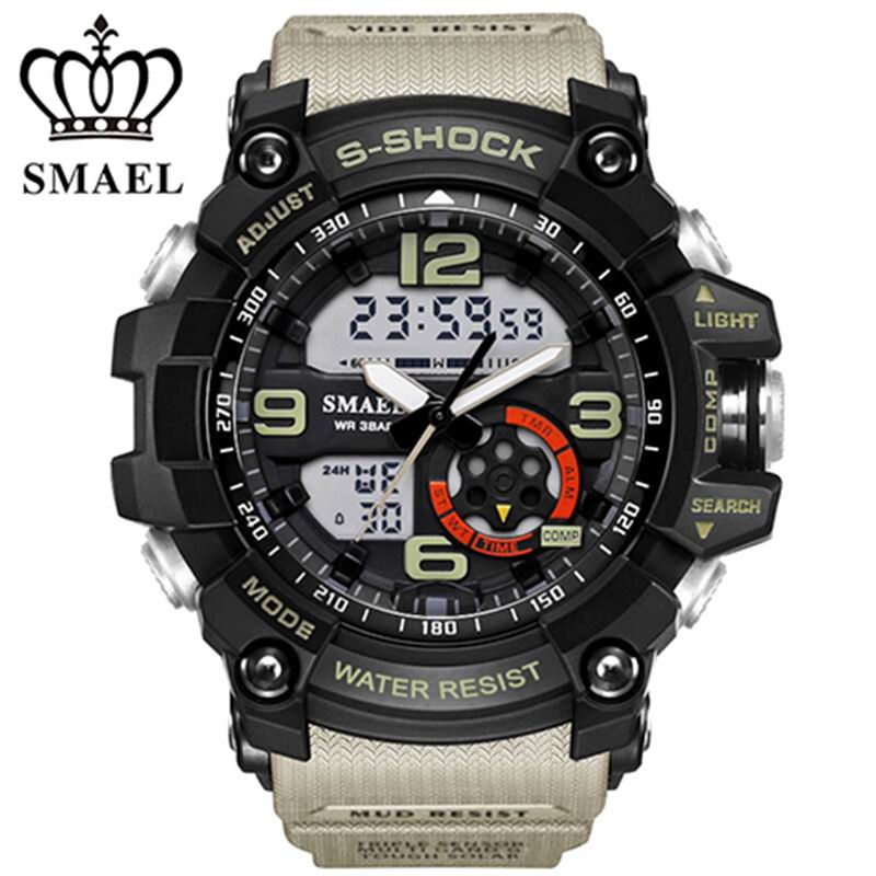 SMAEL Analog Digital Watch men sports 50M Professional Waterproof Quartz large dial hours military wristwatches 2017