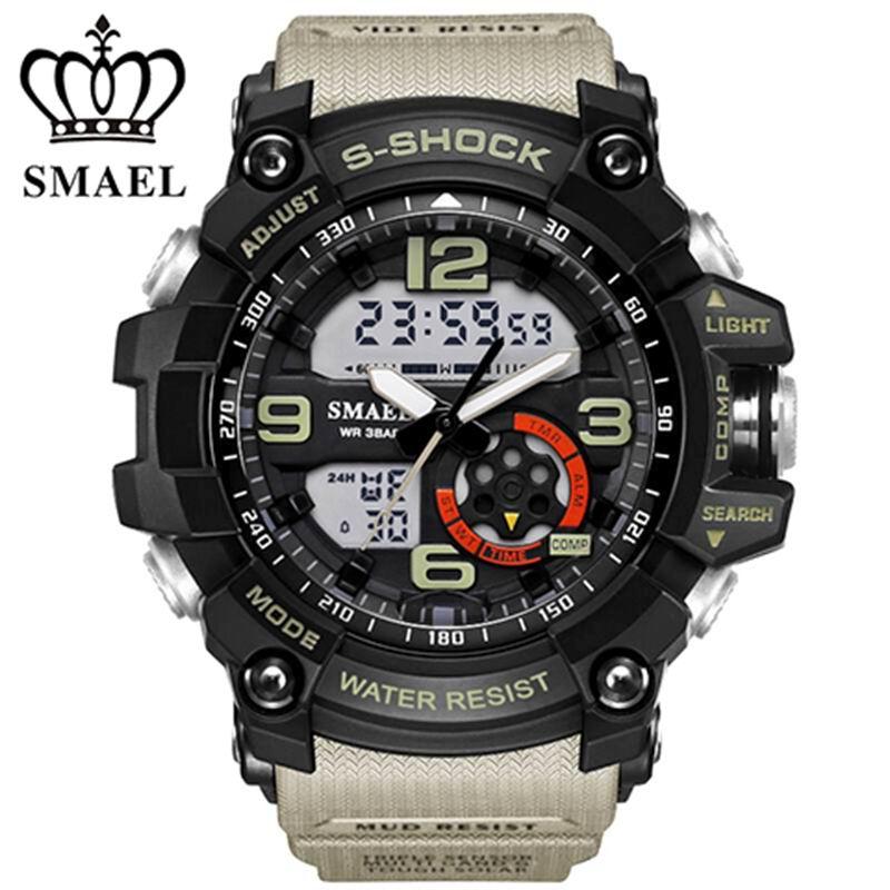Prix pour SMAEL Analogique-Numérique Montre hommes sport 50 M Professionnel Étanche Quartz grand cadran heures montres militaires 2017 de mode