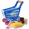 Venta caliente Miniatura Niños Prentend Supermercado Carrito de la compra Con Lleno de Comestibles de Alimentos Juguete Divertido Para Los Niños Niños Cocina Juguete