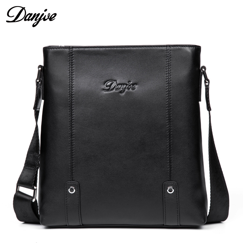 DANJUE Male Messenger Bag Genuine Leather Men Business Bag Natural Cowhide Shoulder Bag Trendy Black Color Crossbody Bag