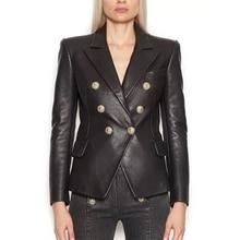 Женский пиджак из искусственной кожи с металлическими пуговицами, в стиле барокко