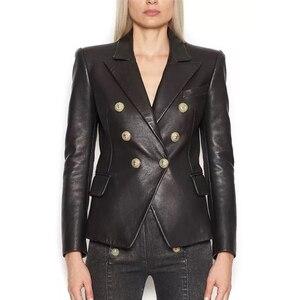 Image 1 - Blouson en Faux cuir femmes, boutons en métal, tendance Baroque, Blazer de styliste, tendance 2020