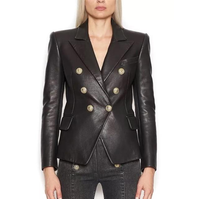 Blouson en Faux cuir femmes, boutons en métal, tendance Baroque, Blazer de styliste, tendance 2020