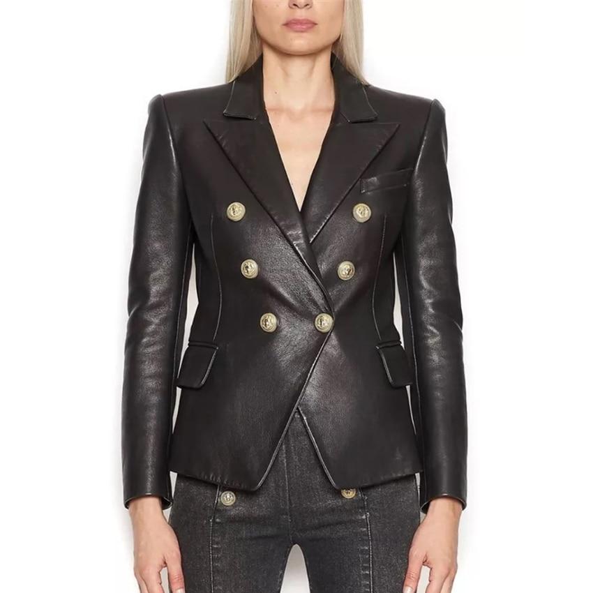 HIGH STREET Newest Baroque Fashion 2020 Designer Blazer Jacket Women's Lion Metal Buttons Faux Leather Blazer Outer Coat