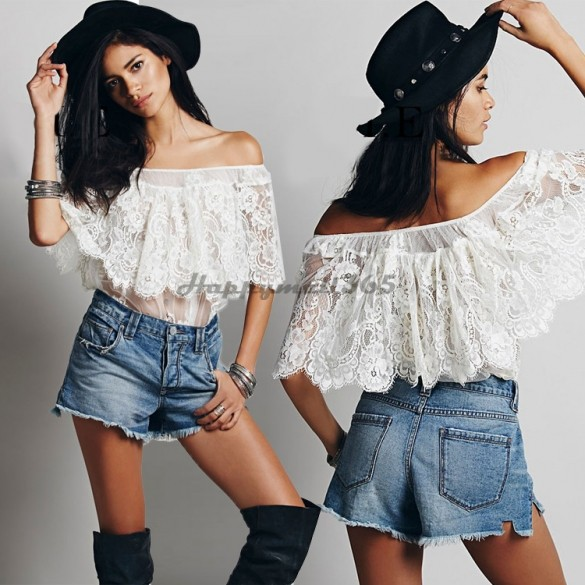 2015 New Summer Style Women Ladies Sexy White Lace Off Shoulder Tops