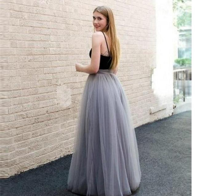 0361854a81 US $77.0 |Moda grigio tulle gonna lunga custom made a line ruchedtulle  gonne tutu partito gonna per le donne in Moda grigio tulle gonna lunga  custom ...