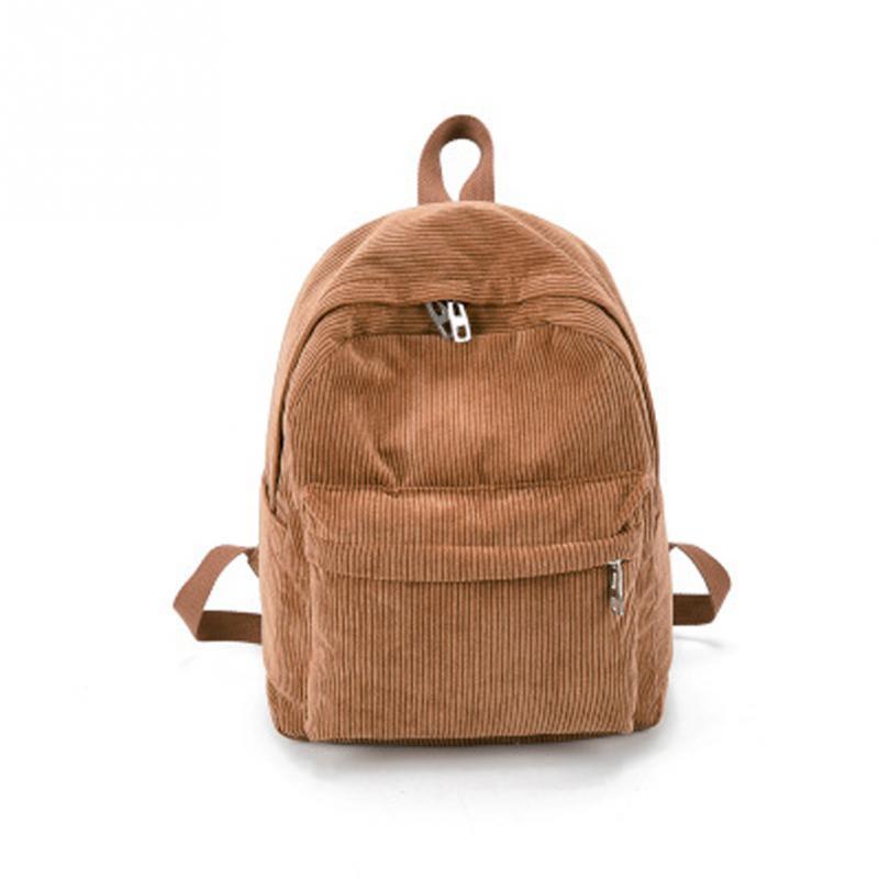 Casual Women Backpack Retro Solid Color Soft Corduroy Backpack Simple Tote Backpack School Bags Teenager Girls Shoulder Bag