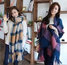 2015 New fashion tartan plaid cashmere scarf for women blanket scarf with tassel winter warm shawl