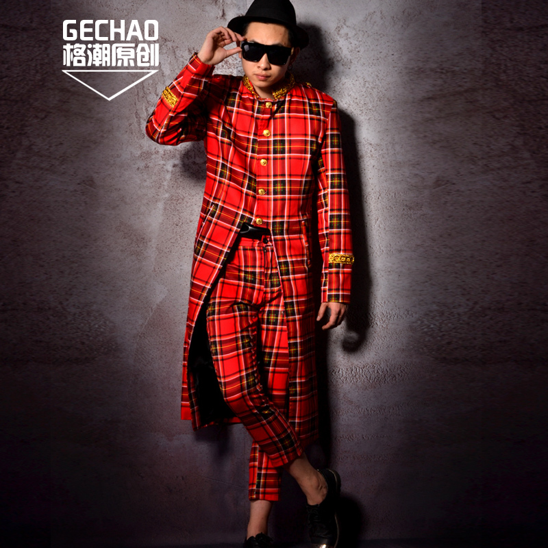 S-5xl 2020 New Plus Size Suits Men's Clothing Fashion Dj Scotland Long Suit Nightclub Performance Show Slim Blazers