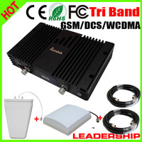 Wholesale Tri band mobile phone Signal repeater GSM 900mhz DCS 1800MHZ WCDMA 3G 2100MHZ Repeater Tri Band with ALC/MGC booster