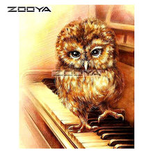 ZOOYA 5D DIY Diamond Owl Piano Piano Keys Animal Diamond Painting Cross Stitch Square Drill Mosaic Decoration BK974(China)