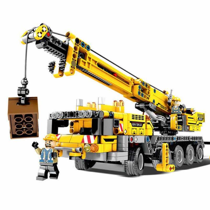665 Pcs Teknik Engineering Mengangkat Crane Blok Bangunan Kompatibel Secara Terbuka Teknik Truk Konstruksi Bata Mainan untuk Anak