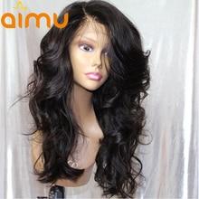 Aimu 250 плотность Синтетические волосы на кружеве человеческих волос парики с ребенком волосы свободная волна 13X6 предварительно сорвал бразильский девственные волосы парик для черный Для женщин