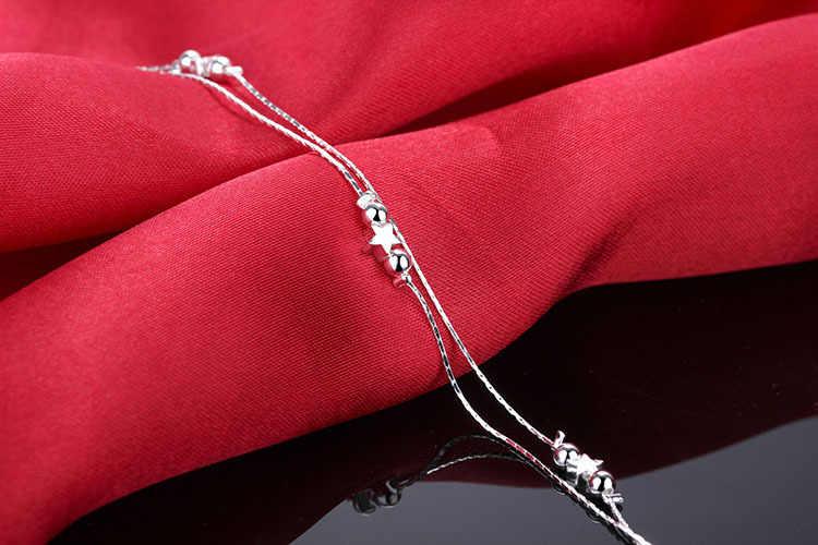 女性の二層ポリッシュスタービーズチャーム 925 スターリングシルバーアンクレット足チェーン夏足首ブレスレット卸売