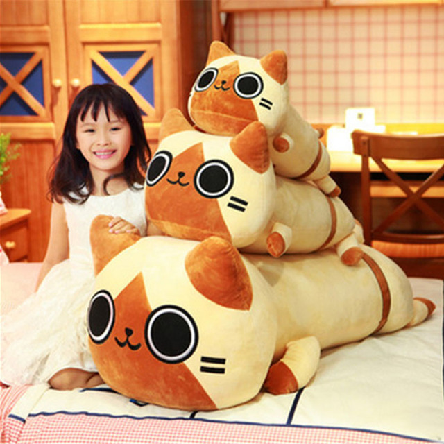 Fancytrader Anime Kawaii Cat Plush Toy Big Giant Stuffed Animals Cats Doll Pillow Gifts for Children 80cm
