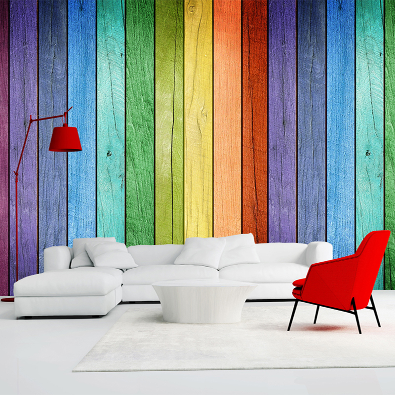 Painted Walls Colorful Room Design: 3D Wallpaper Color Wood Board Modern Interior Simple Decor