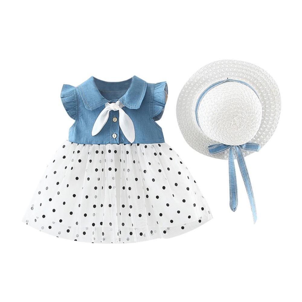 Летнее платье для девочек; Повседневный лоскутный дизайн; Хлопковый сетчатый сарафан с расклешенными рукавами для маленьких детей; Платье ...