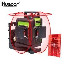 Huepar 12 линий 3D перекрестная линия лазерный уровень самонивелирующийся 360 градусов вертикальный и горизонтальный крест супер мощный красный ...