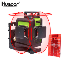 Huepar 12 Lines 3D Cross Line Laser Level Self Leveling 360degree Vertical & Horizontal Cross Super Powerful Red Laser Beam Line