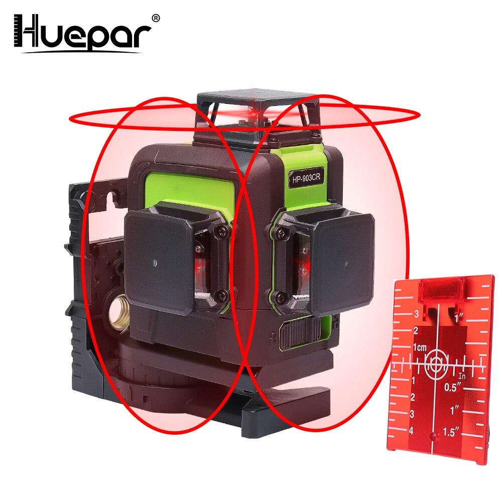 Huepar 12 lignes 3D ligne transversale niveau Laser auto-nivelant 360 degrés croix verticale et horizontale ligne de faisceau Laser rouge Super puissante