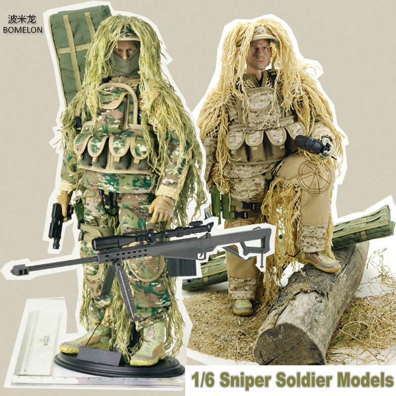 12Sniper Action Figures 1/6 Soldier Models+Ghillie Suit+Barrett Set Army Man Dolls Military Toys Boys Birthday Gift Collection 12pcs set children kids toys gift mini figures toys little pet animal cat dog lps action figures