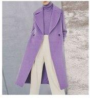See Orange Lavender Woman Coats Winter 2018 Fashion Show Warm Long Wool Coat Casual Streetwear SO3530