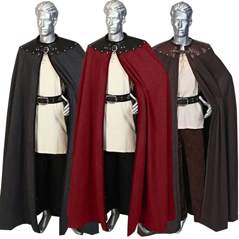 Adult Men 12th 13th Century England Queen Prince Costume Medieval Knight Solider Maxi Cloak Cape Warrior Viking Cos Robe For Men