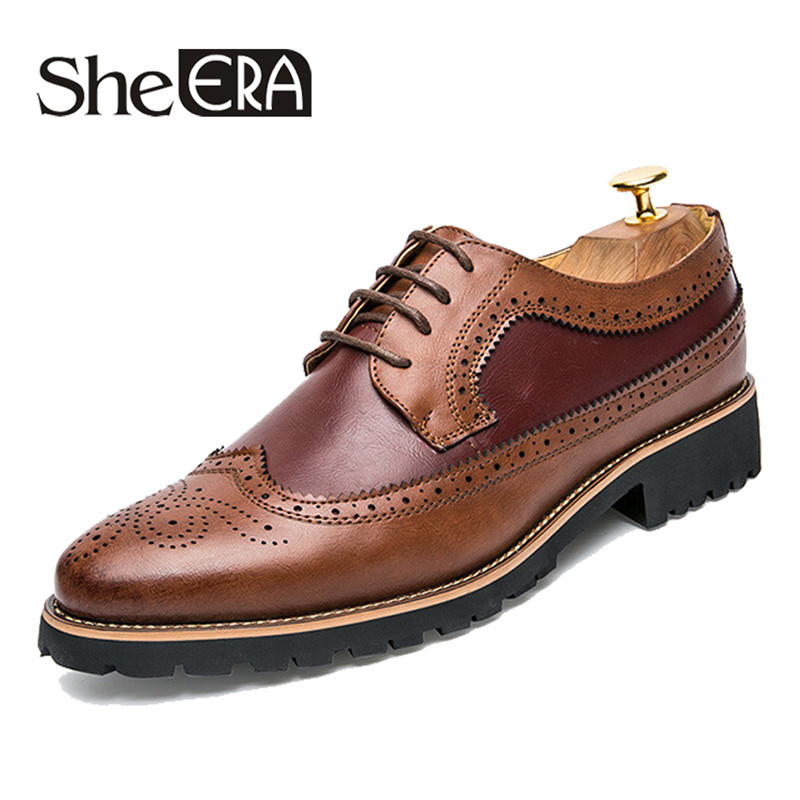 2019 New Genuine Leather Men Shoes British Style Pointed Toe Man Shoes Brogue Oxford Shoes For Men Luxury Brand Formal Flats