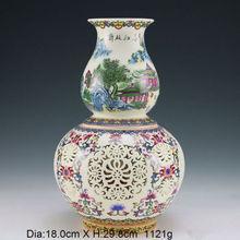 Oriental Vintage Handwork Porcelain Painting Landscape Hollow Vase