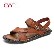 CYYTL Men Sandals 2019 Summer Flip Flops Man Shoes Leather Slippers Outdoor Beach Casual Male Water Roman Sandalias Hombre