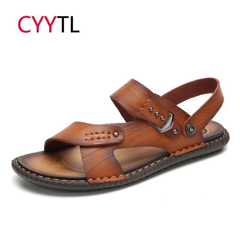 CYYTL <font><b>Men</b></font> <font><b>Sandals</b></font> 2019 <font><b>Summer</b></font> Flip Flops Man Shoes Leather Slippers <font><b>Outdoor</b></font> Beach Casual Male Water Shoes Roman Sandalias Hombre image