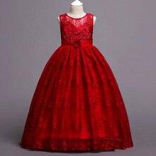 2019 Appliques Lace Princess Dress for Girl Wedding Party Kids Dresses Toddler Children Ankle- Length Vestidos