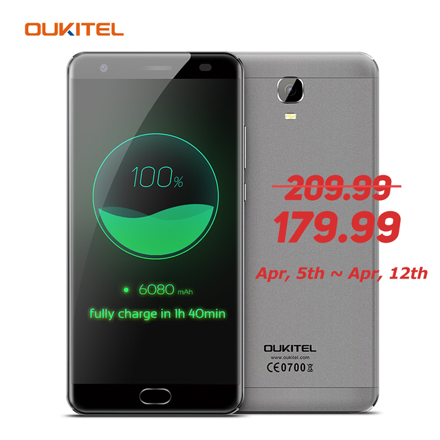 OUKITEL K6000 Plus Mobile Phone 5.5'' 4G Android 7.0 MTK6750T Octa Core 1.5GHz 4GB RAM 64GB ROM 8.0MP+16.0MP 6080mAh Smartphone