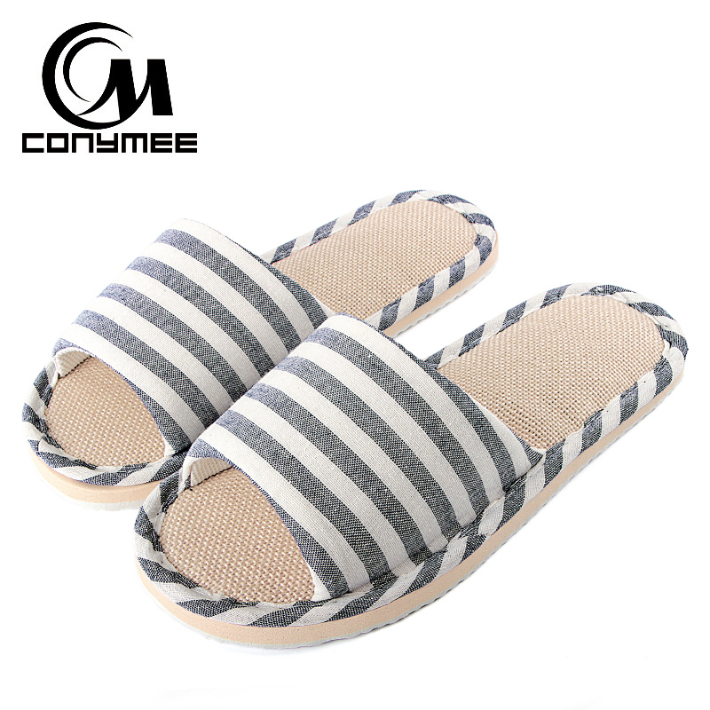 CONYMEE 2018 Summer Shoes Men Beach Sandals Flip Flops Striped Linen Male Casual Sneakers For Home Indoor Slippers Erkek Terlik