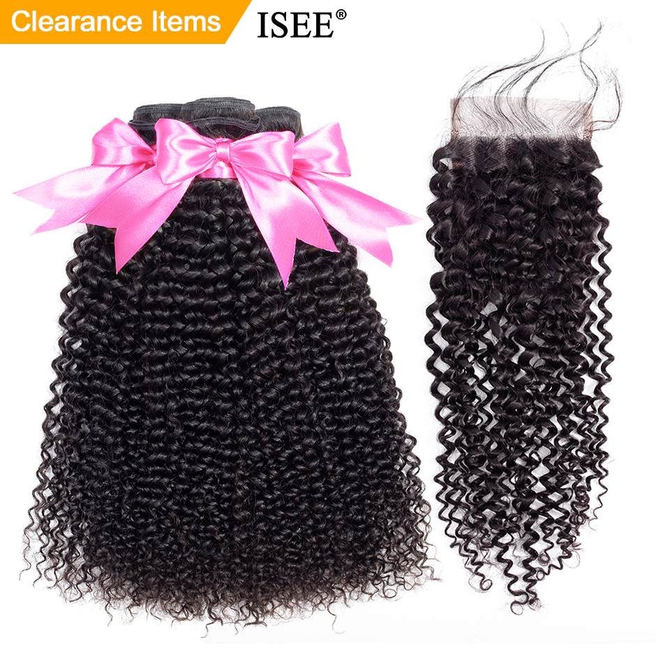 Mongolian Kinky Curly Human Hair Bundles With Closure ISEE HAIR Extensions 3Bundles With Closure Remy Curly Innrech Market.com